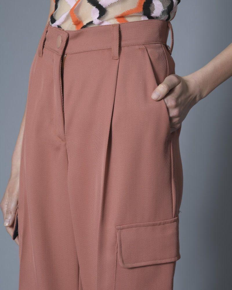 Pantalon en laine mélangée rose Momoni
