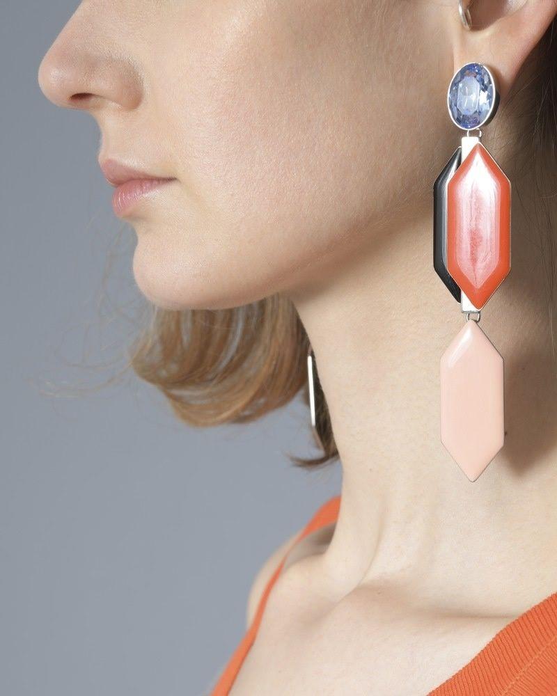 Boucle d'oreille géometriques Orange Emilio Pucci