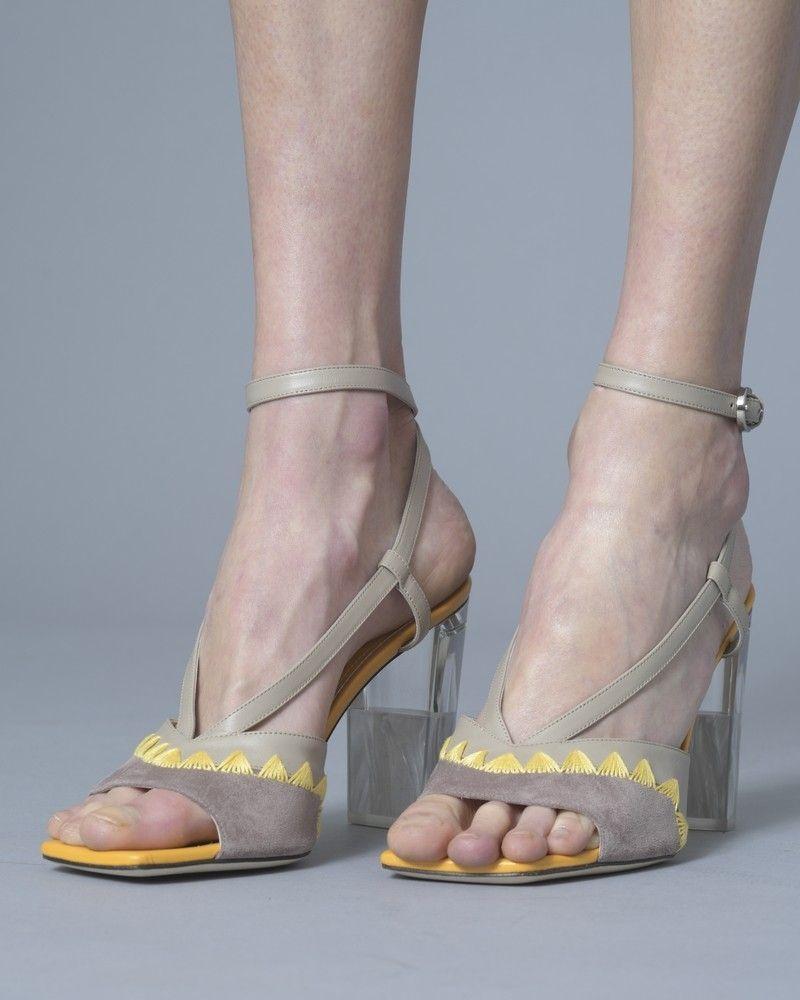 Sandales en cuir à talons transparents Emilio Pucci