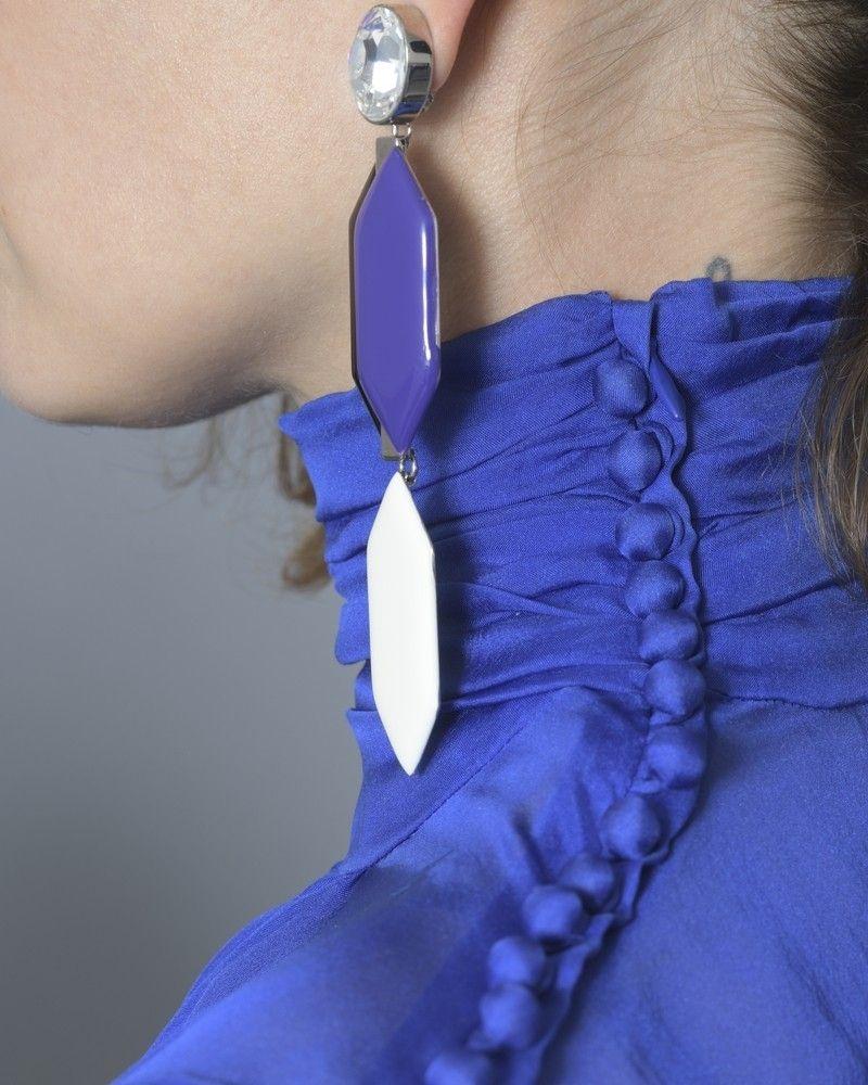 Boucles d'oreilles argentées géométriques Emilio Pucci