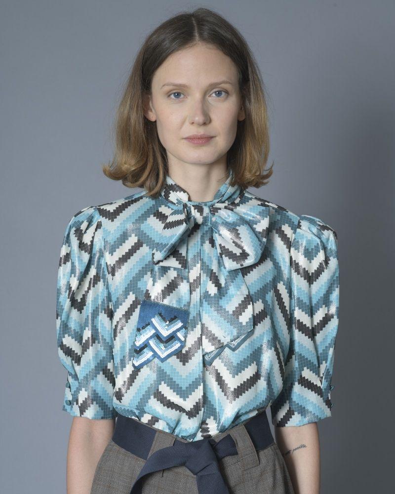 Body bleu motifs géométrique Elisabetta Franchi