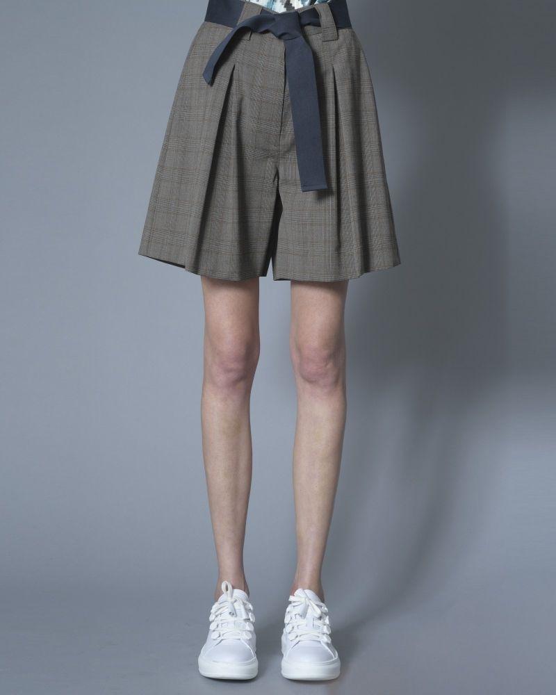 Short en laine mélangée à carreaux avec ceinture Eleventy