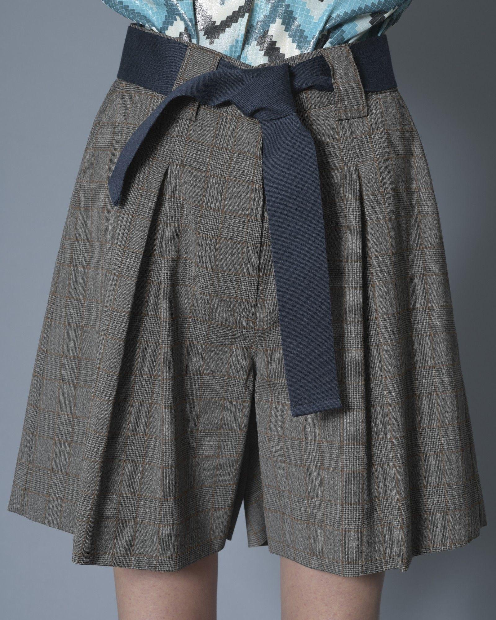 Short gris à carreaux marrons avec ceinture Eleventy
