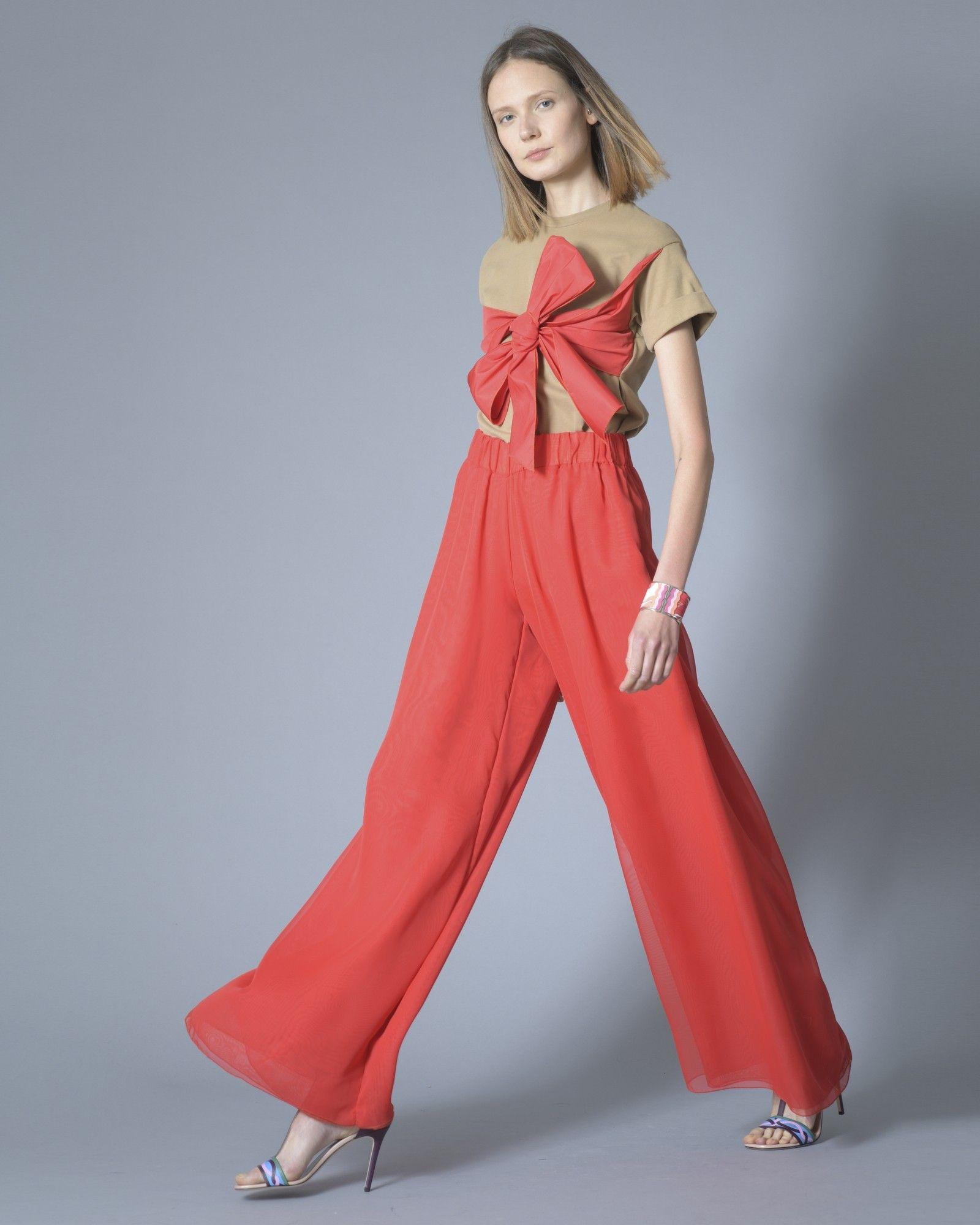 T-shirt marron à noeud rouge Elisabetta Franchi