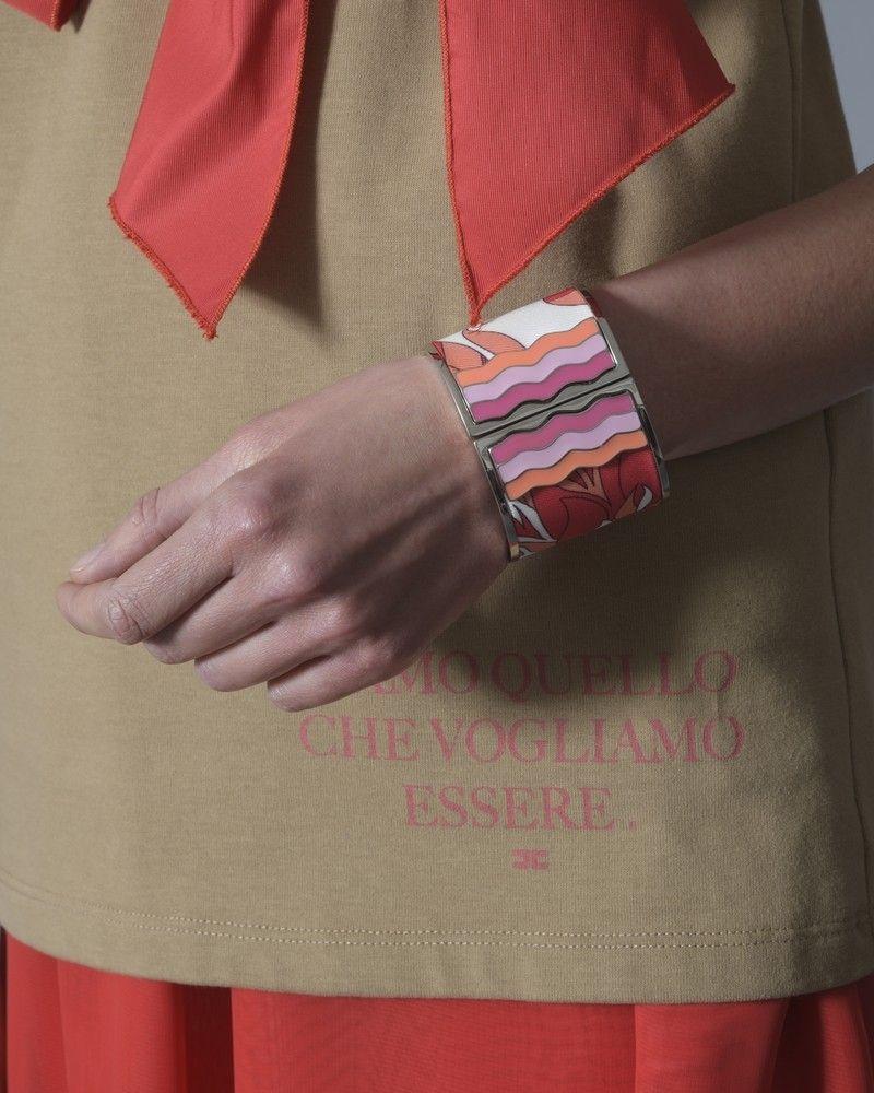 Bracelet en plaqué argent et tissu imprimé Emilio Pucci