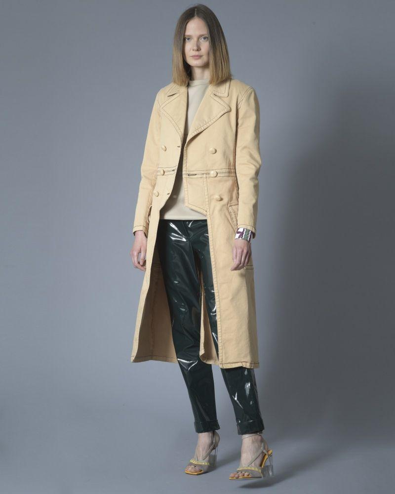 Manteau en jean tailcoat beige Elisabetta Franchi