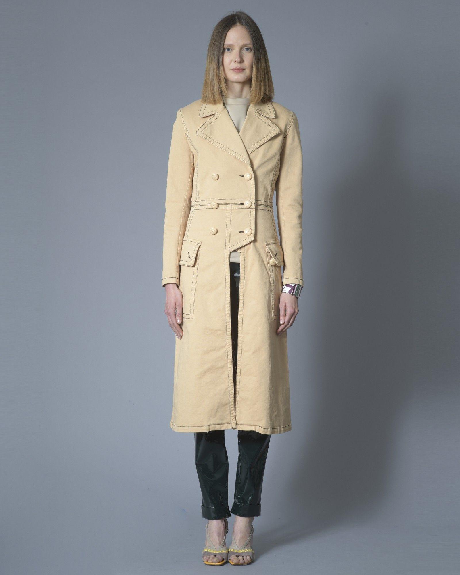 Manteau en jean beige Elisabetta Franchi