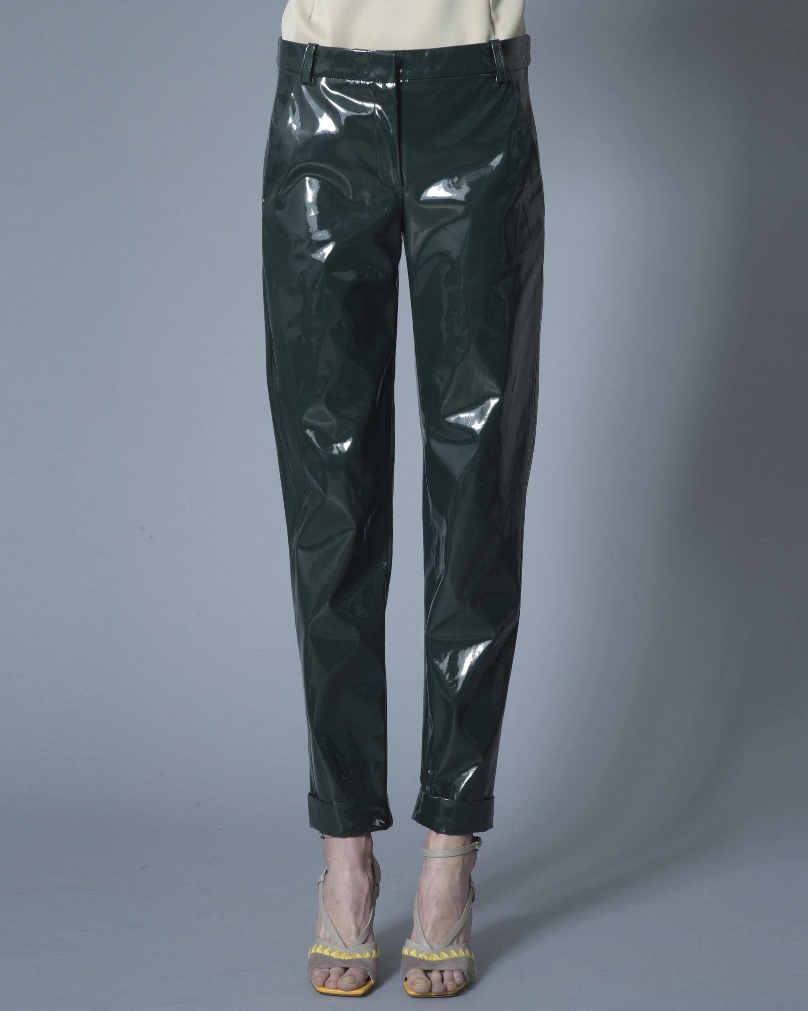 Pantalon en vinyl vert Carven