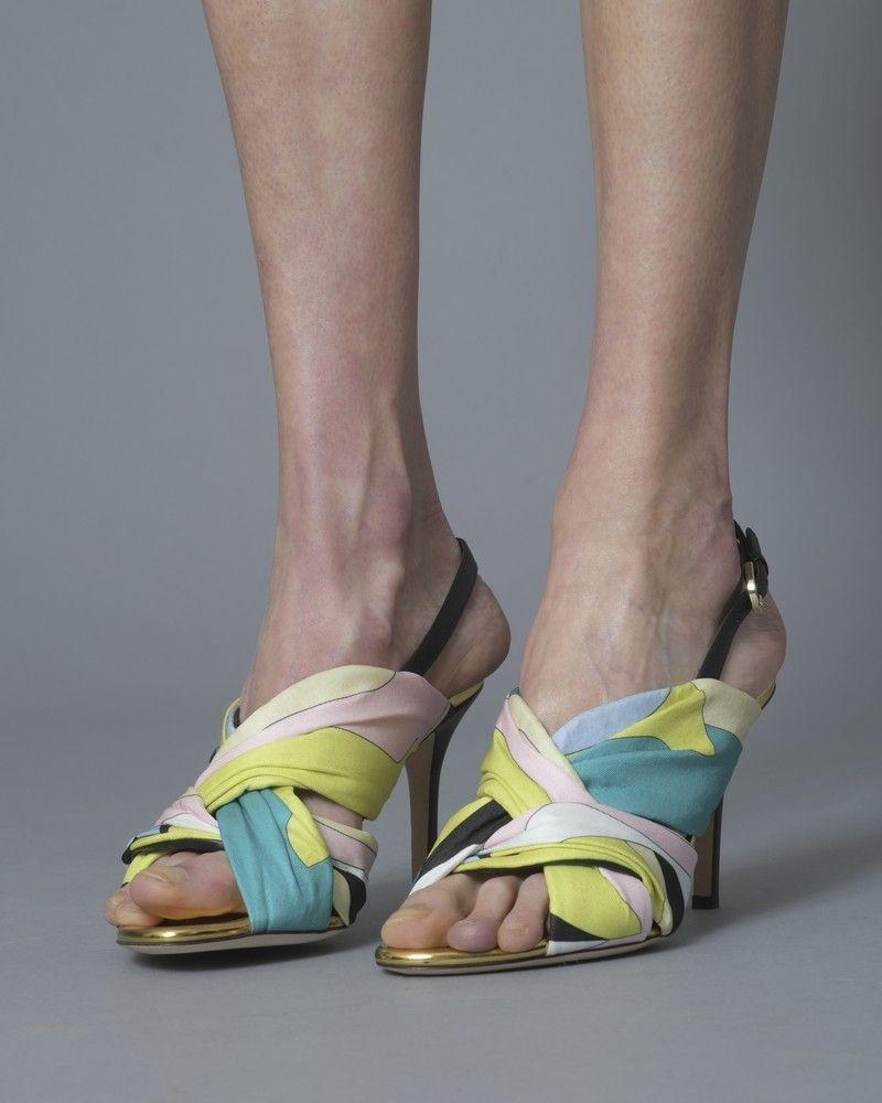 Sandales en cuir et en tissu imprimé Emilio Pucci