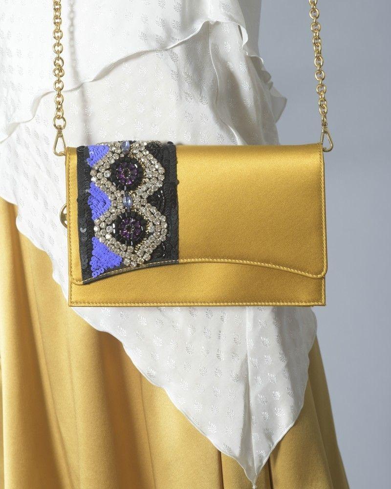 Pochette en satin à ornements en cristaux et sequins Emilio Pucci