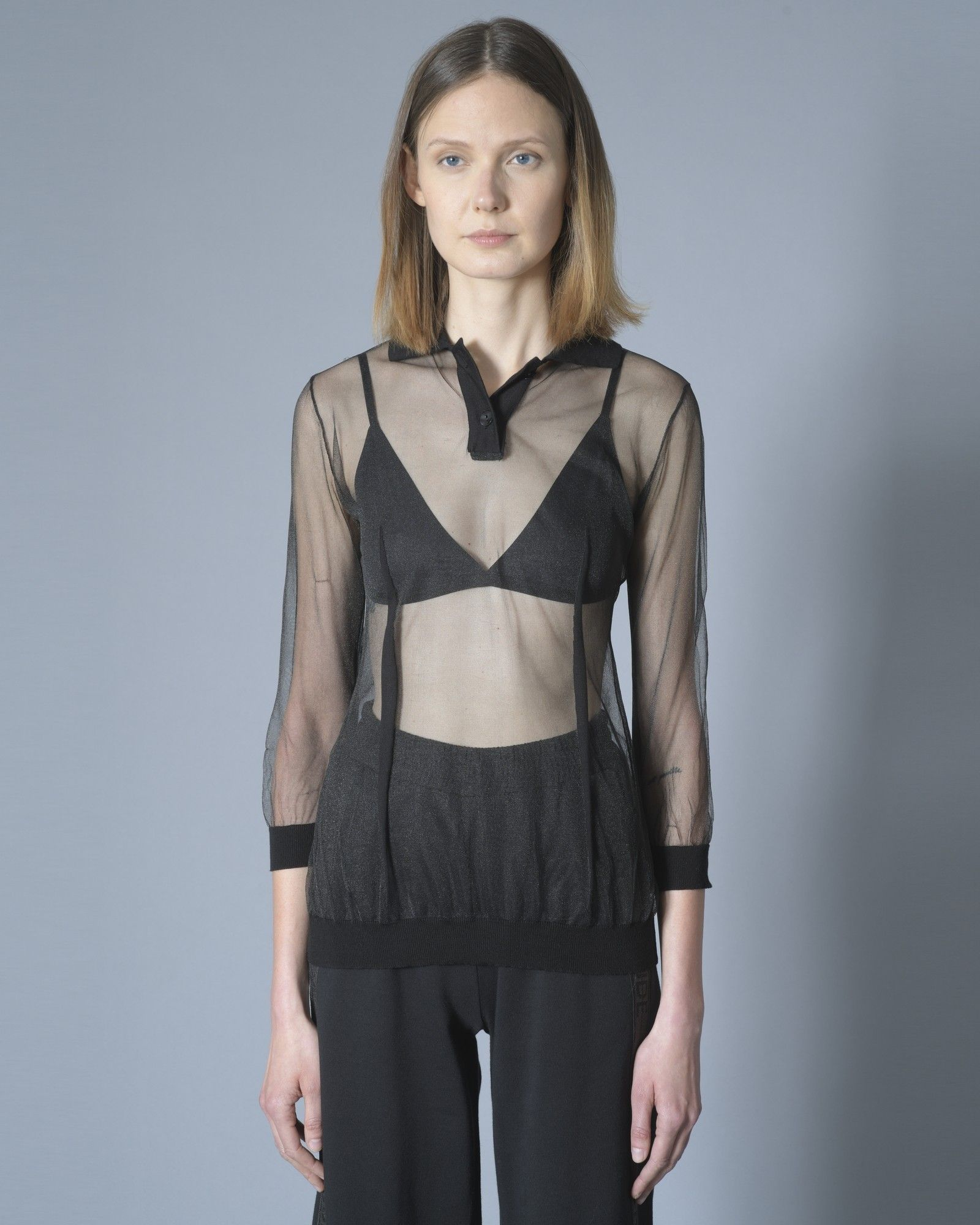 Top transparent Noir Johon Galliano