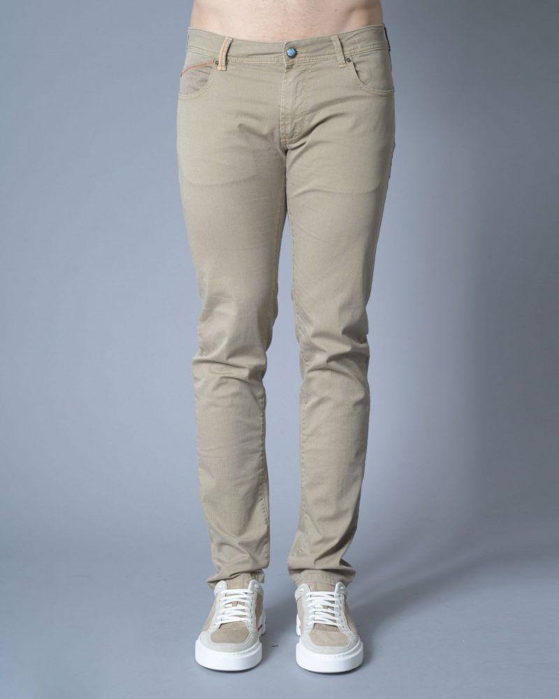 Pantalon beige à petits carreaux Re-Hash