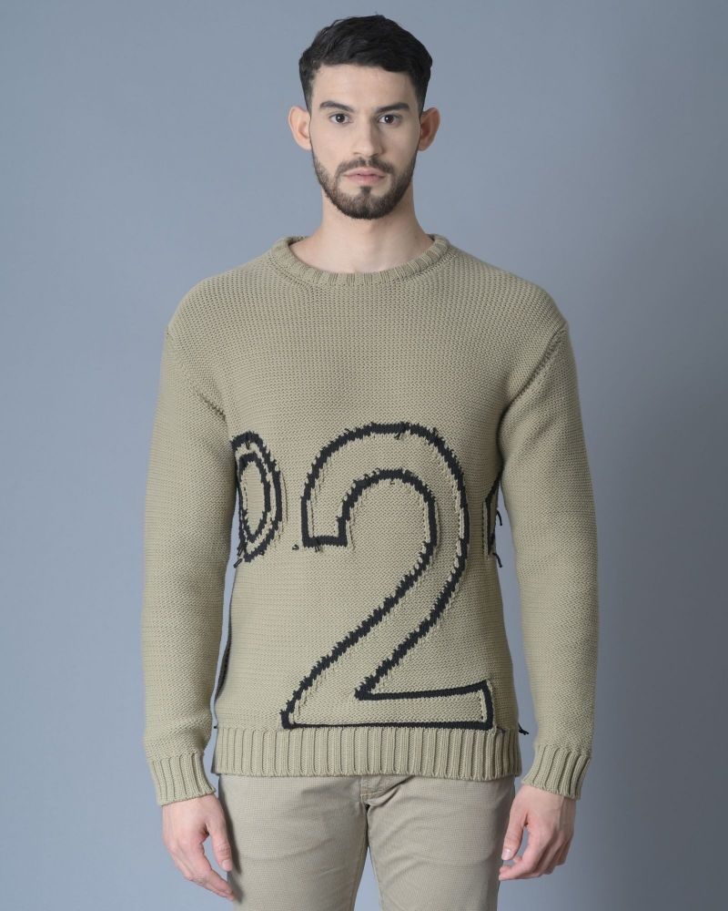 Pull taupe avec chiffre N21 Archive 18-20
