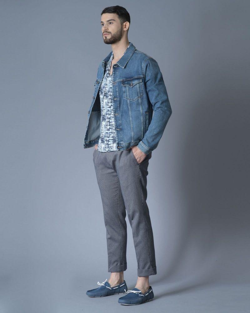 Pantalon en coton raccourci à rayures  Not to be found