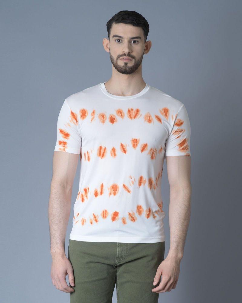 Tshirt tie & die blanc et orange Daniele Fiesoli