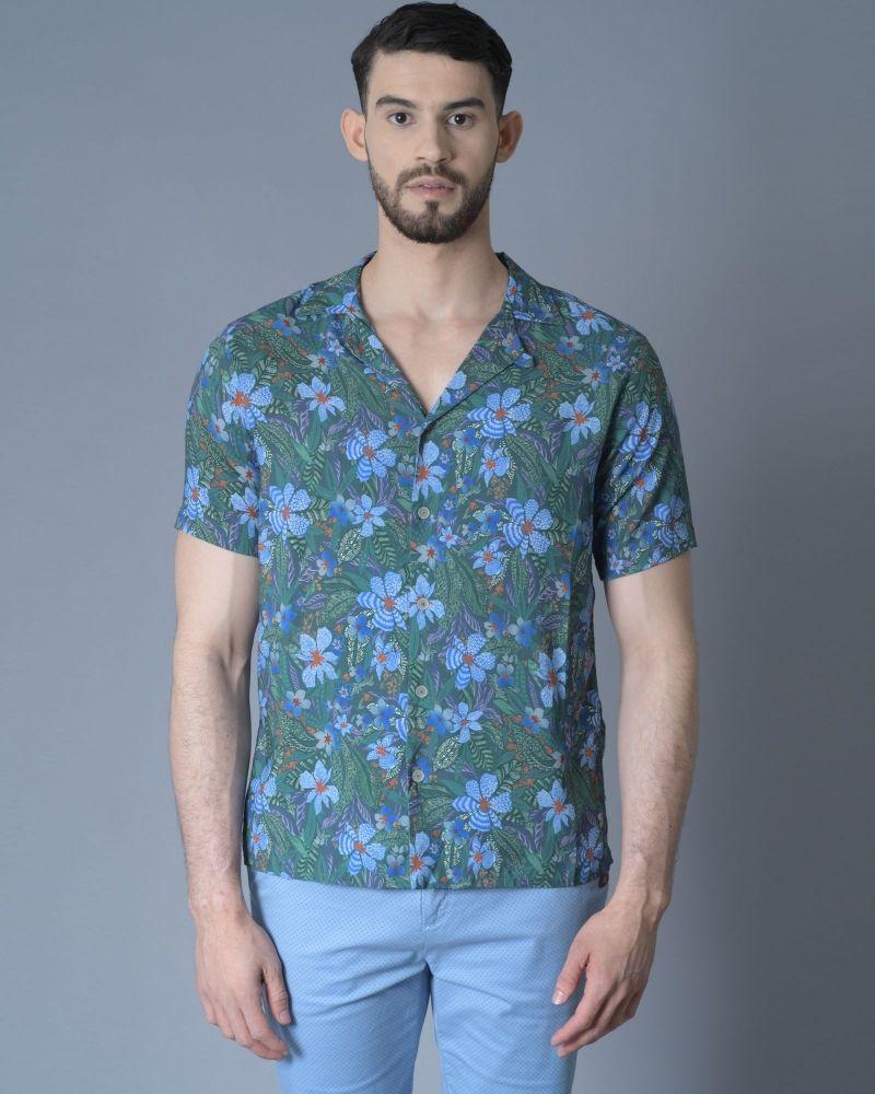 Chemise verte à motif fleuri Daniele Fiesoli