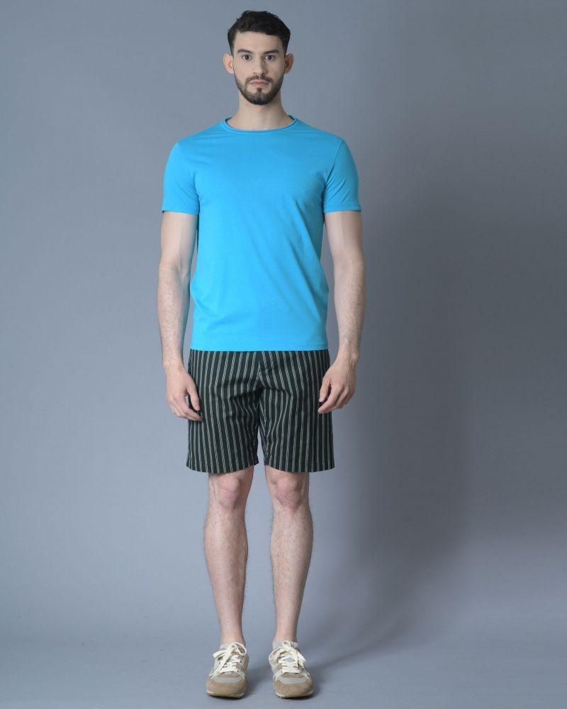T-shirt en coton à bords roulés bleu Daniele Fiesoli
