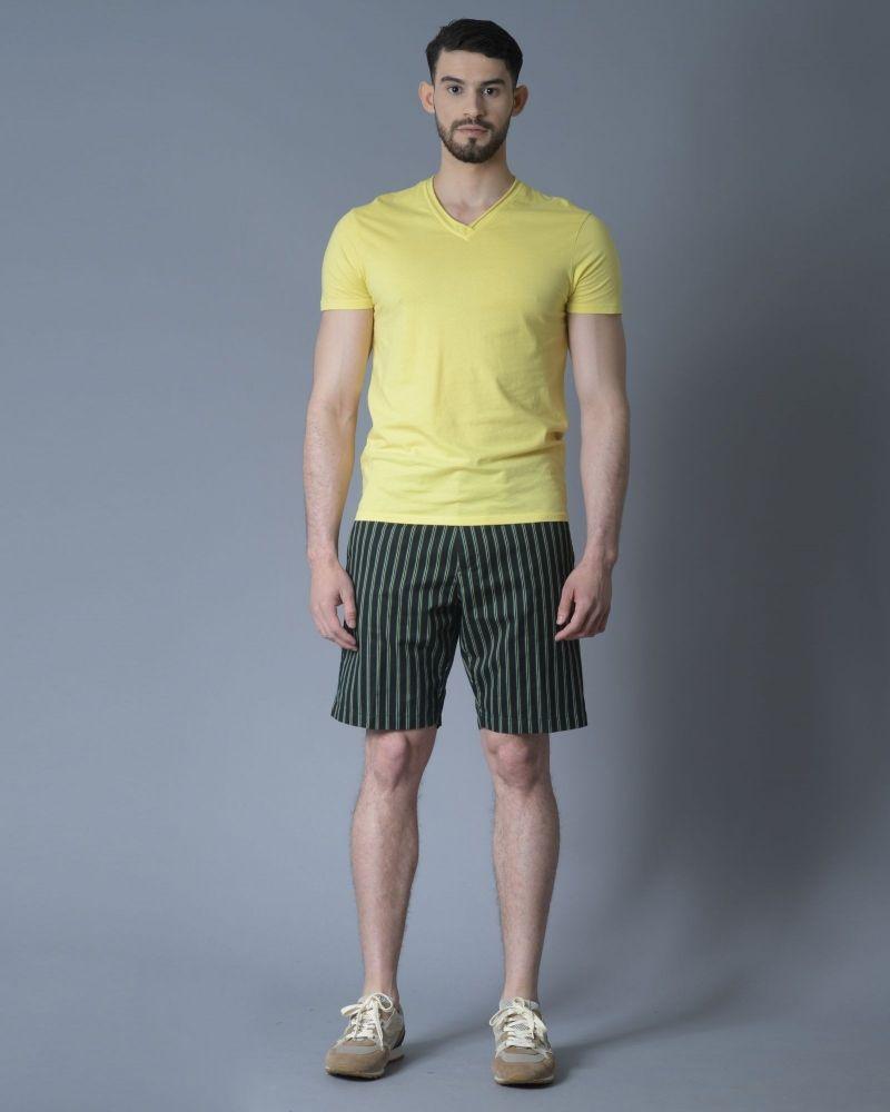 T-shirt en coton à bords roulés jaune Daniele Fiesoli