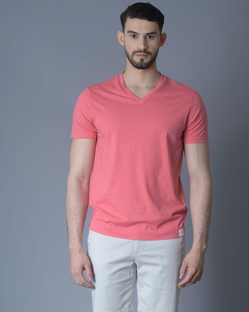 T-shirt en coton à col en V rose Daniele Fiesoli