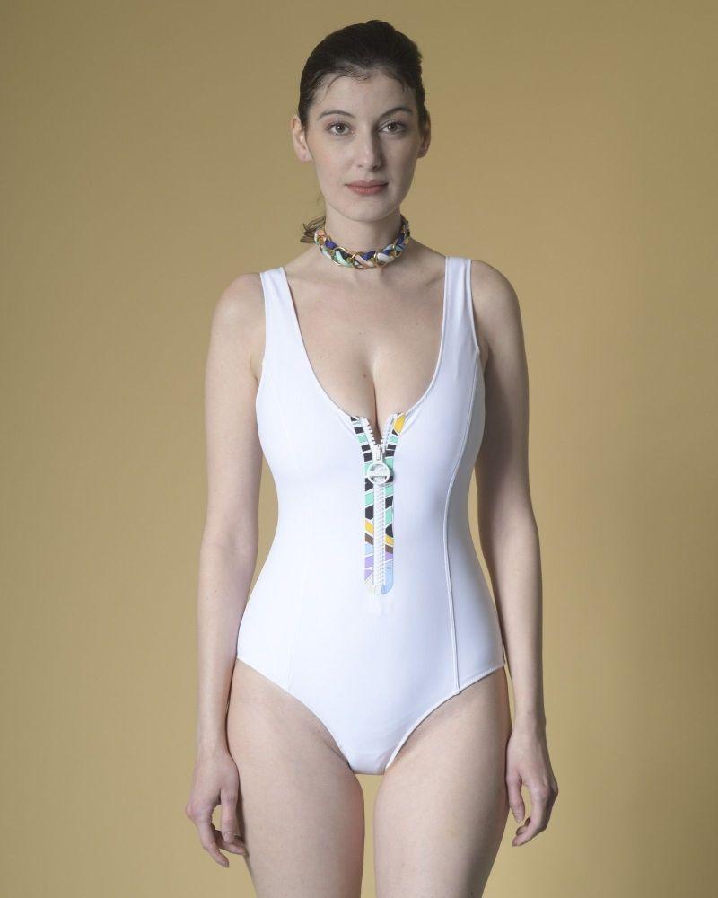 Maillot de bain en néoprène zippé blanc Emilio Pucci