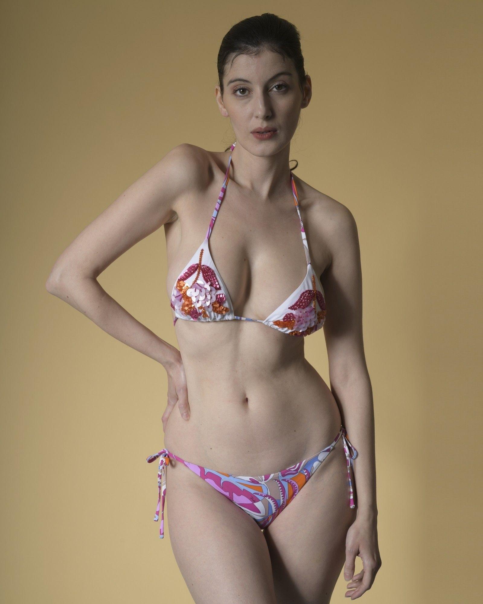 Bikini imprimé à broderies rose Emilio Pucci