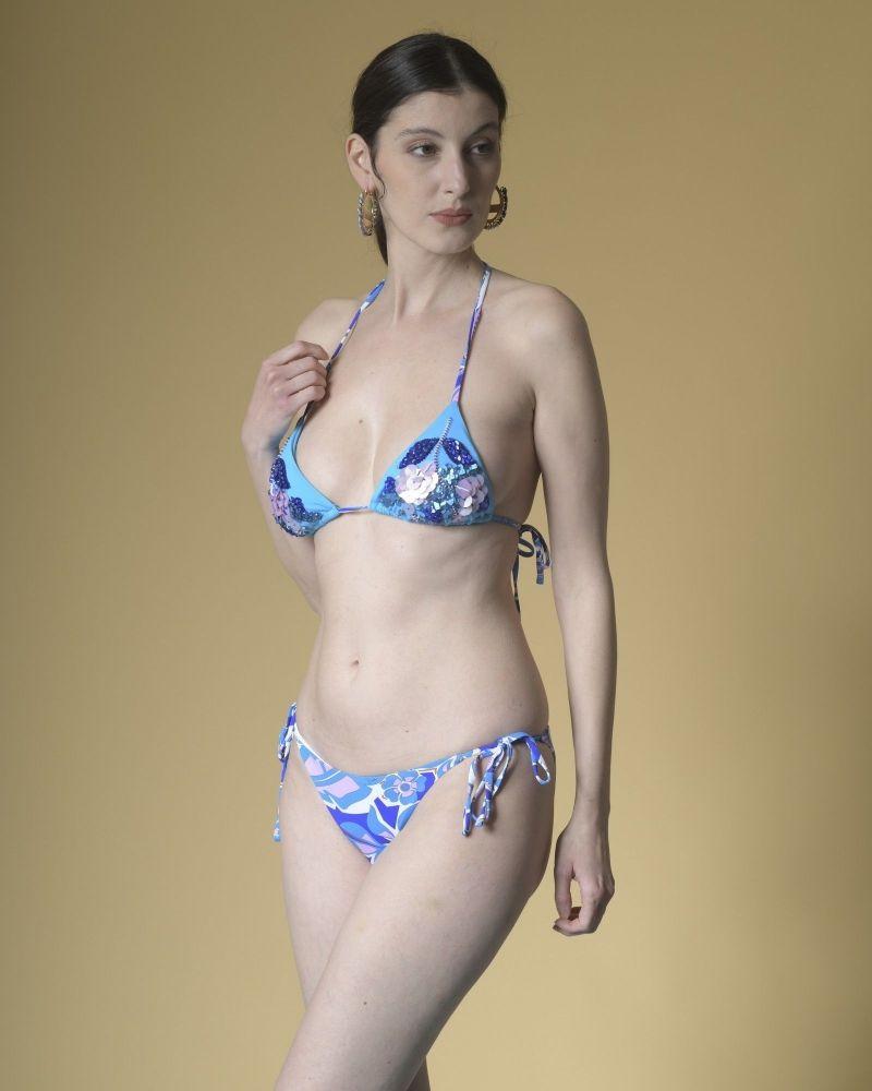 Bikini imprimé à broderies bleue Emilio Pucci