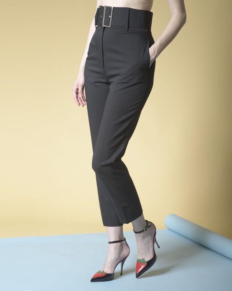 Pantalon en laine mélangée à ceinture  Space Simona Corsellini
