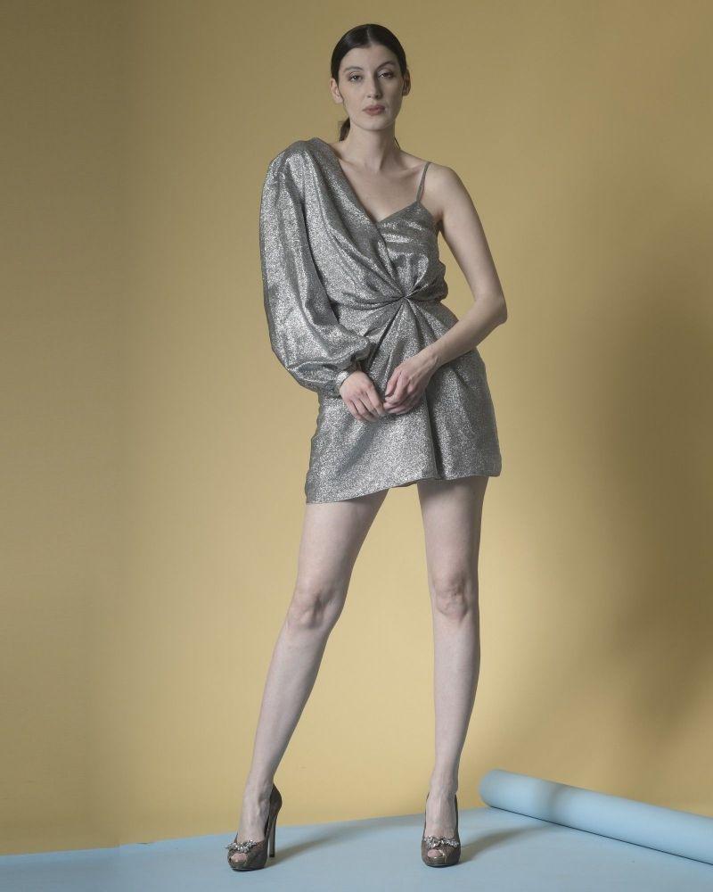 Robe asymétrique en soie métallisée à drapé Space Simona Corsellini