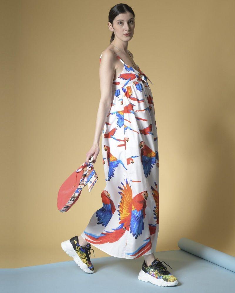 Robe longue en coton à imprimé perroquets Sara Roka