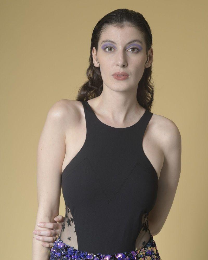 Body stretch à empiècement en tulle r Elisabetta Franchi