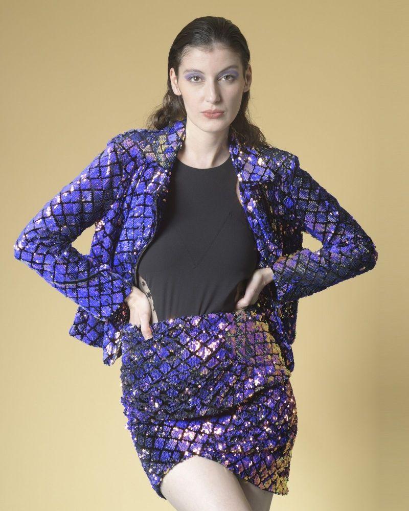 Veste à sequins imprimé carreaux Space Simona Corsellini