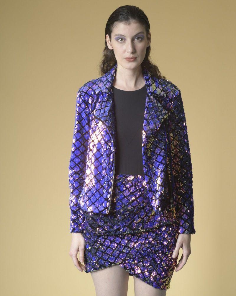 Veste à sequins imprimés carreaux Space Simona Corsellini
