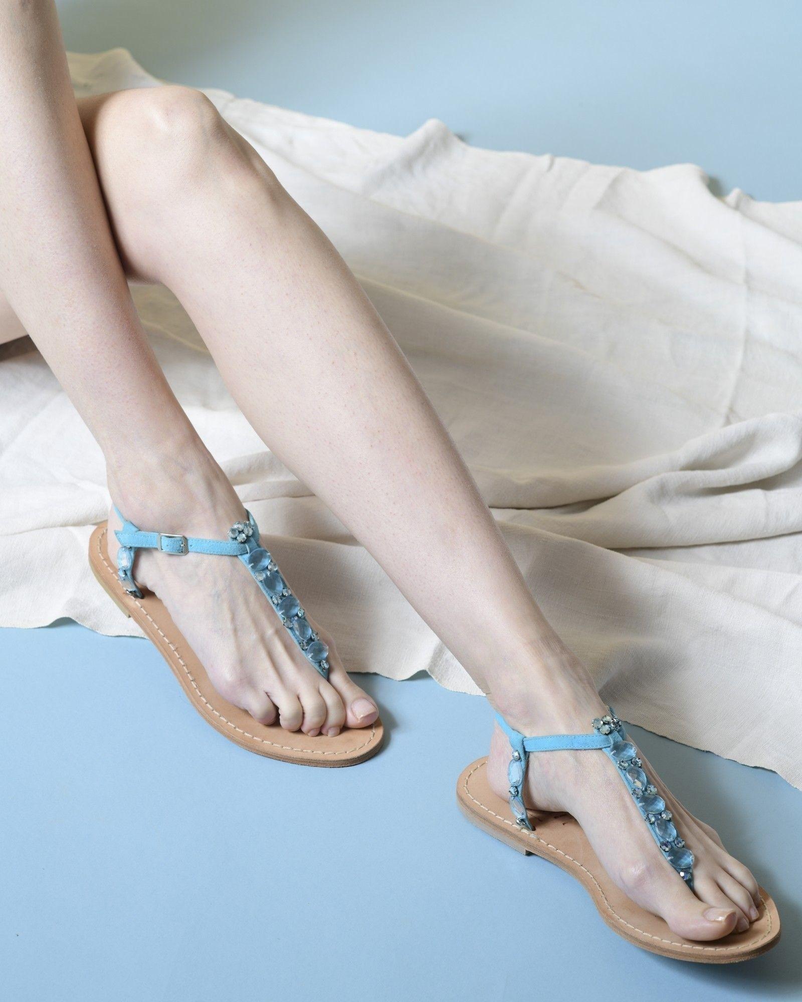 Sandales en daim à cristaux Blumarine