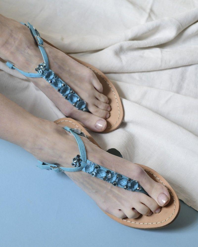 Sandales en daim incrustée de cristaux Blumarine