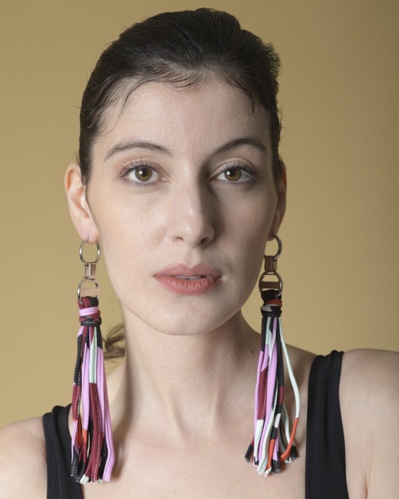 Boucles d'oreilles à franges en tissu imprimé rose Emilio Pucci