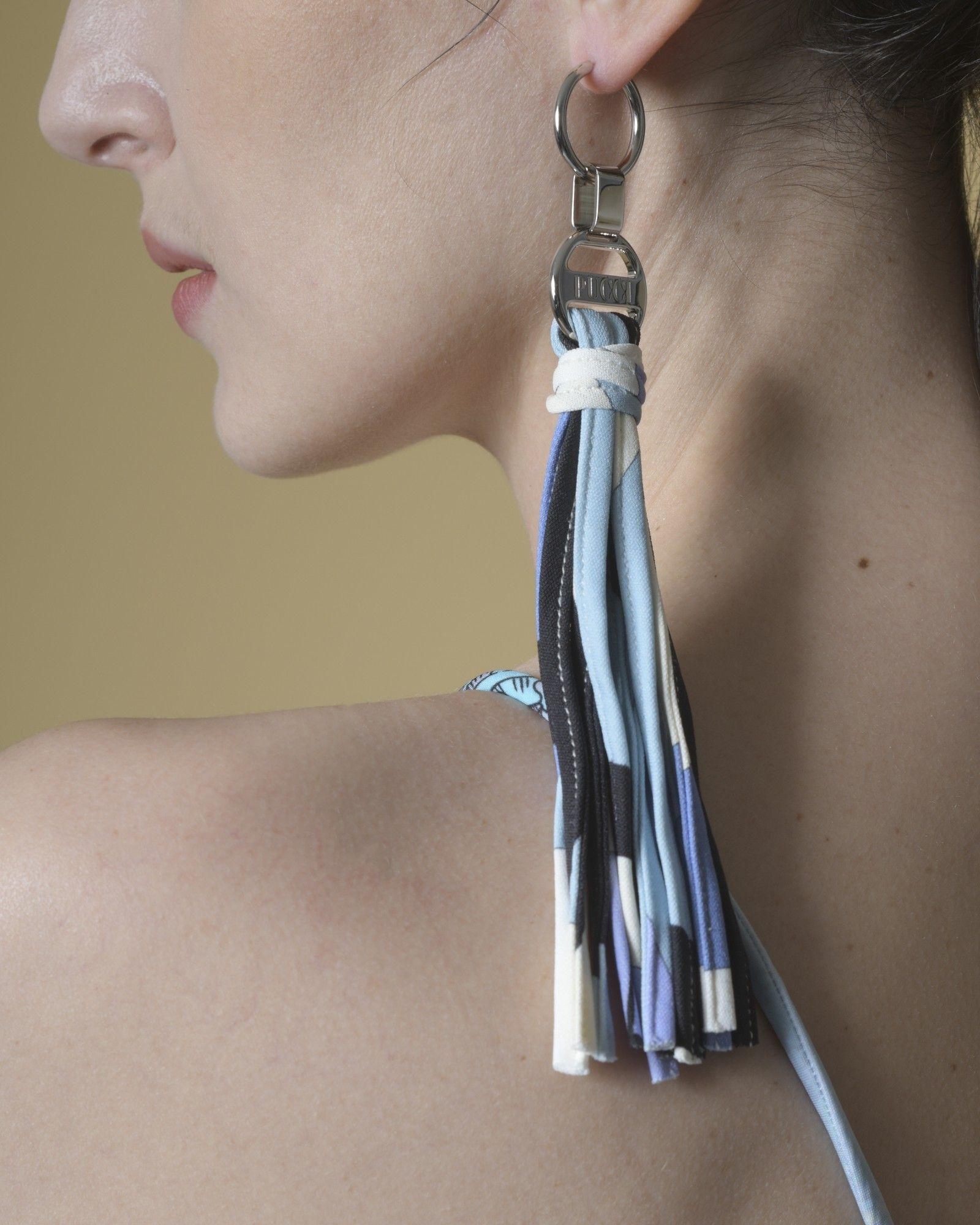 Boucles d'oreilles à franges en tissu imprimé bleue Emilio Pucci