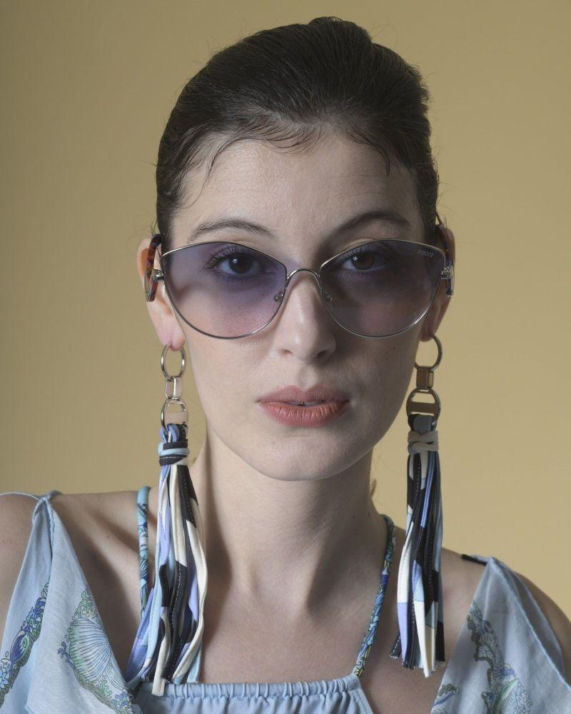 Boucles d'oreilles à franges en tissu imprimé bleu Emilio Pucci