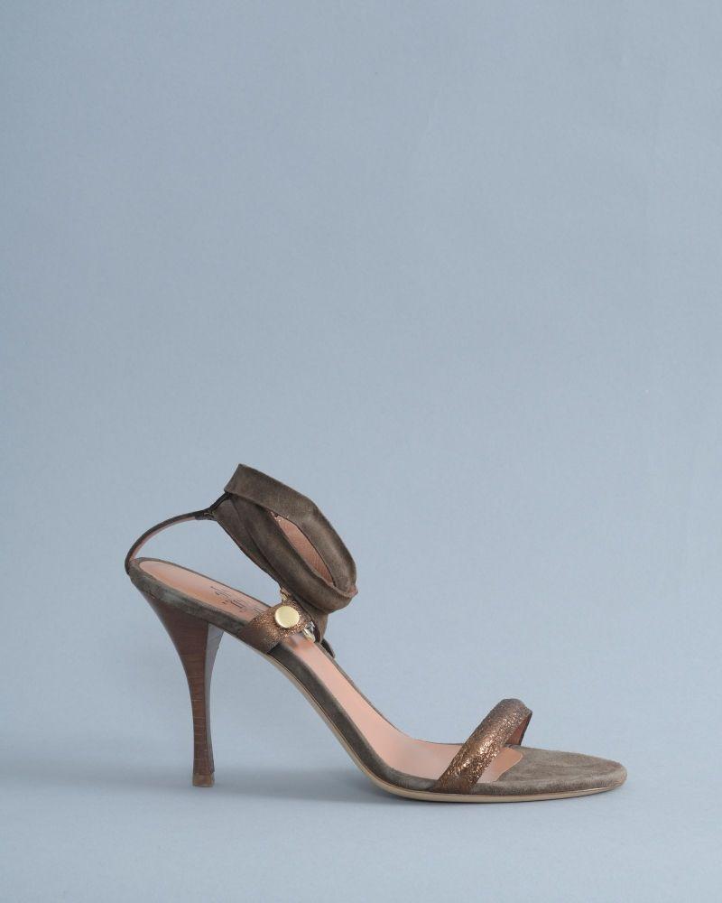Sandales marron en cuir lamé/daim à talon Eleventy
