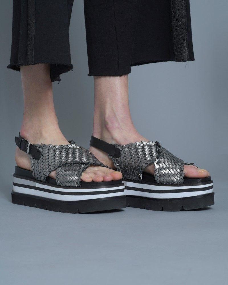 Sandale Compenssé argent/ noir Casheart