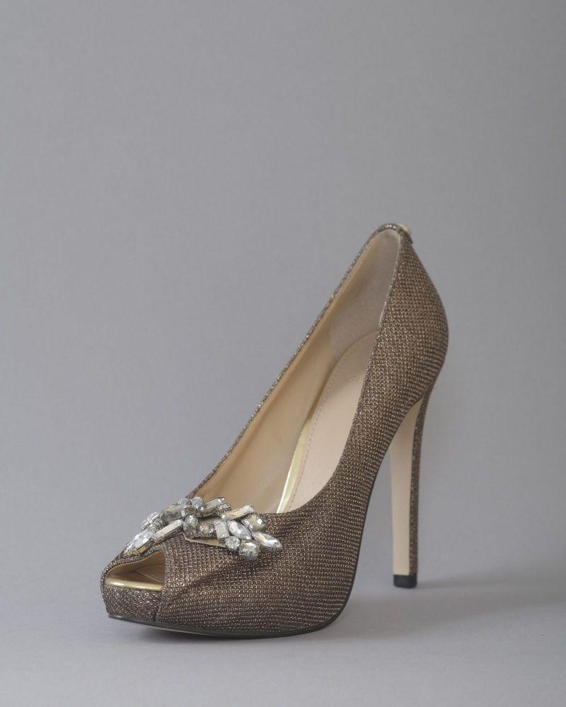 Sandales en cuir à bouts ouverts ornées de cristaux Guess