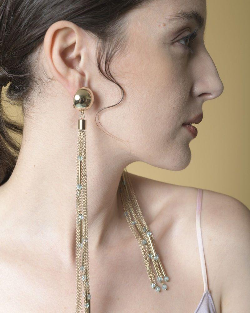 Boucles d'oreilles en chaînes dorées et perles Elisabetta Franchi