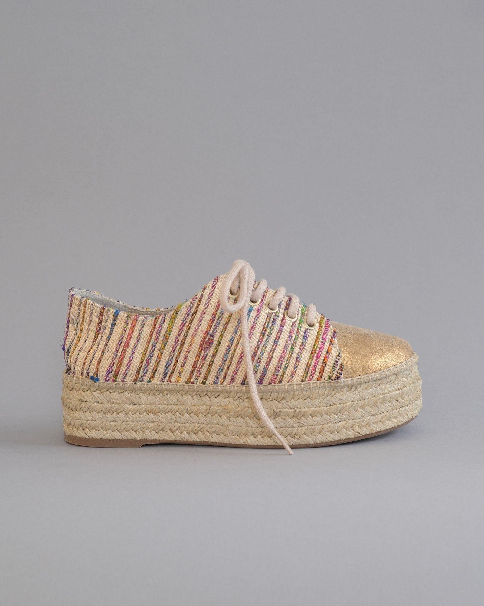 Chaussures compensés à rayures multicolores Casheart