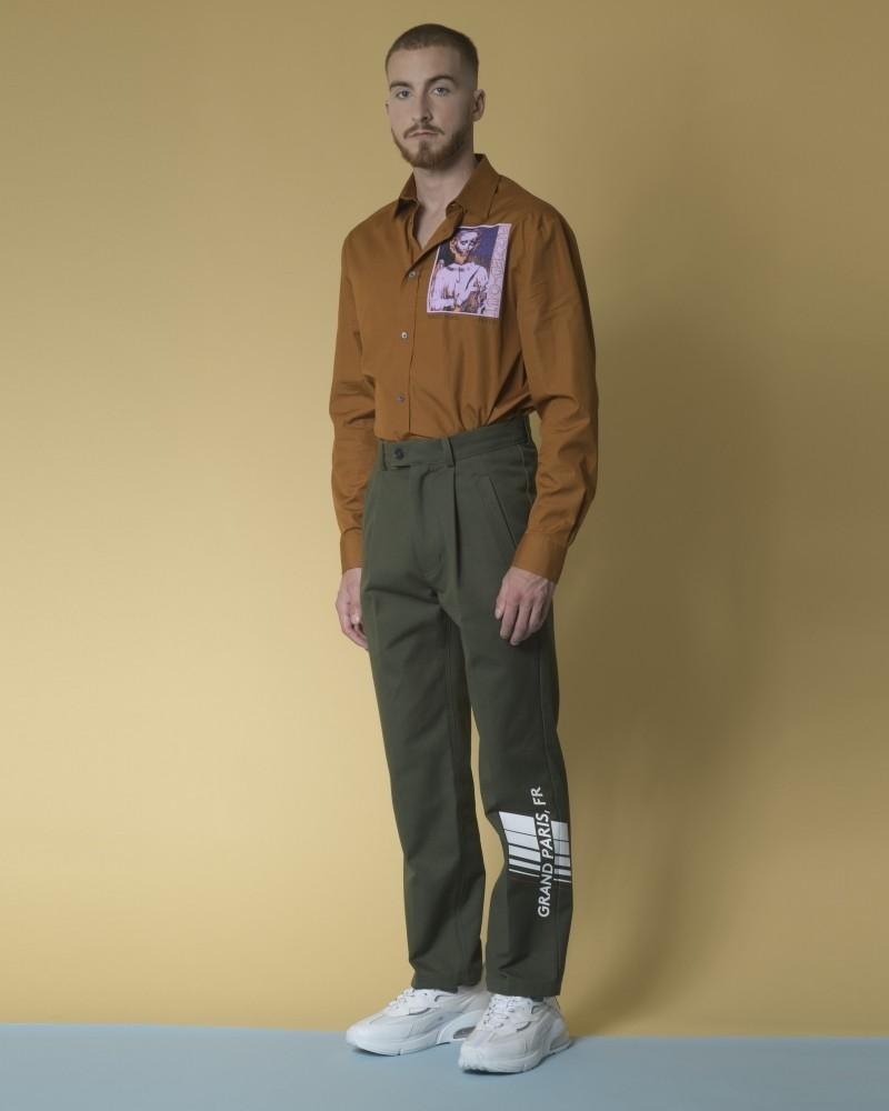 Pantalon en jersey de coton rigide à imprimé AVOC