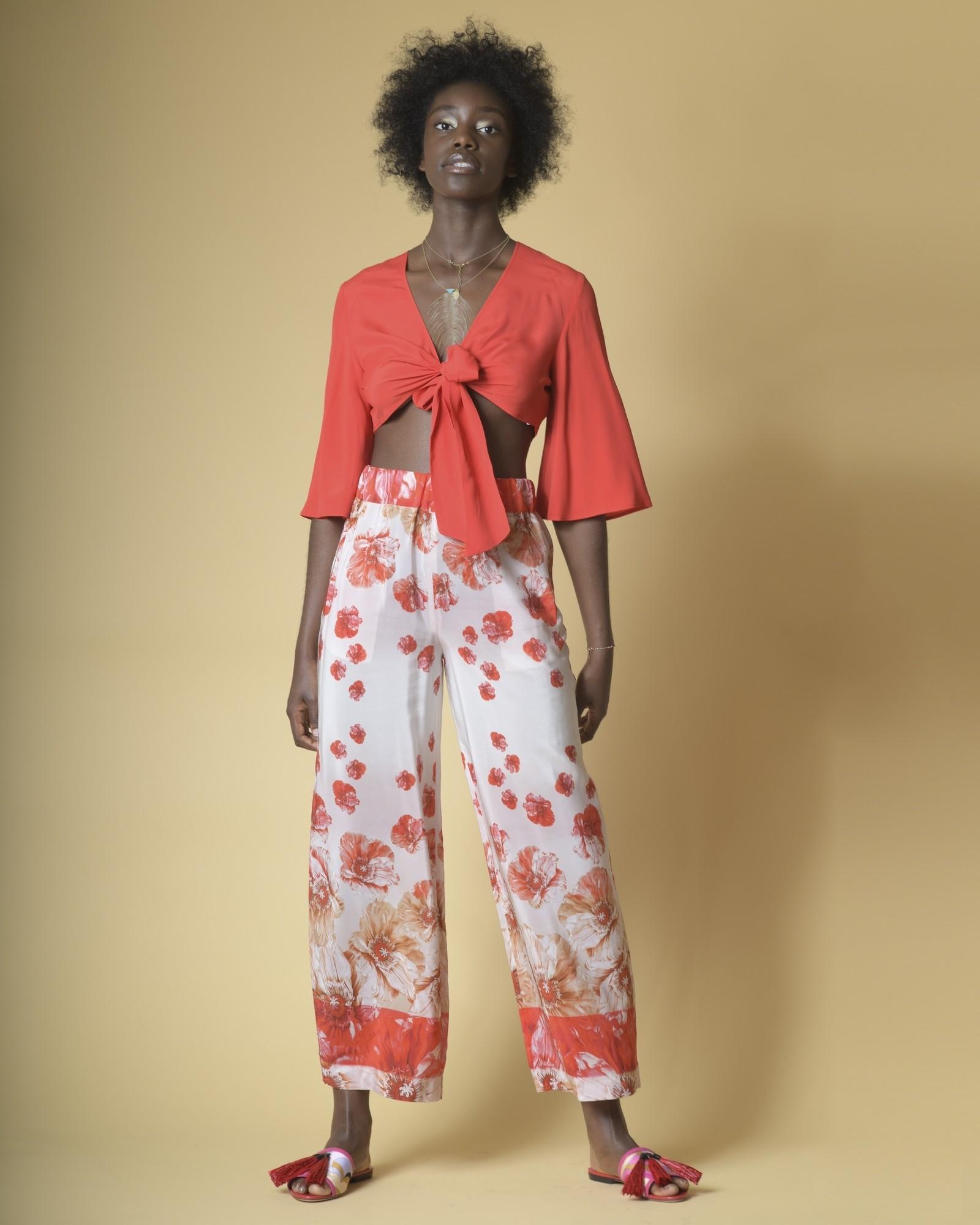 Pantalon large en soie à imprimé floral Les Copains