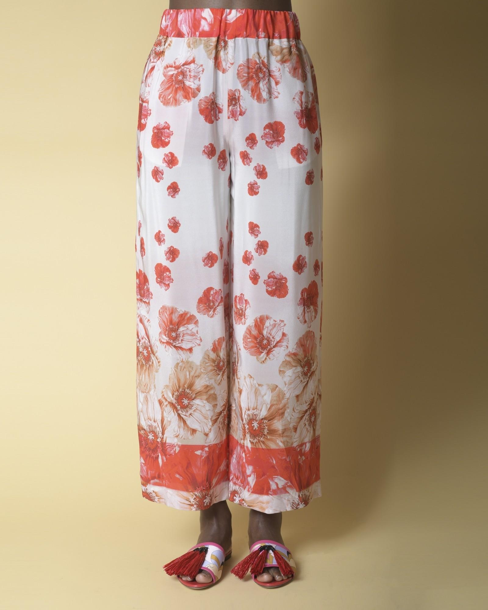 Pantalon large en soie à...