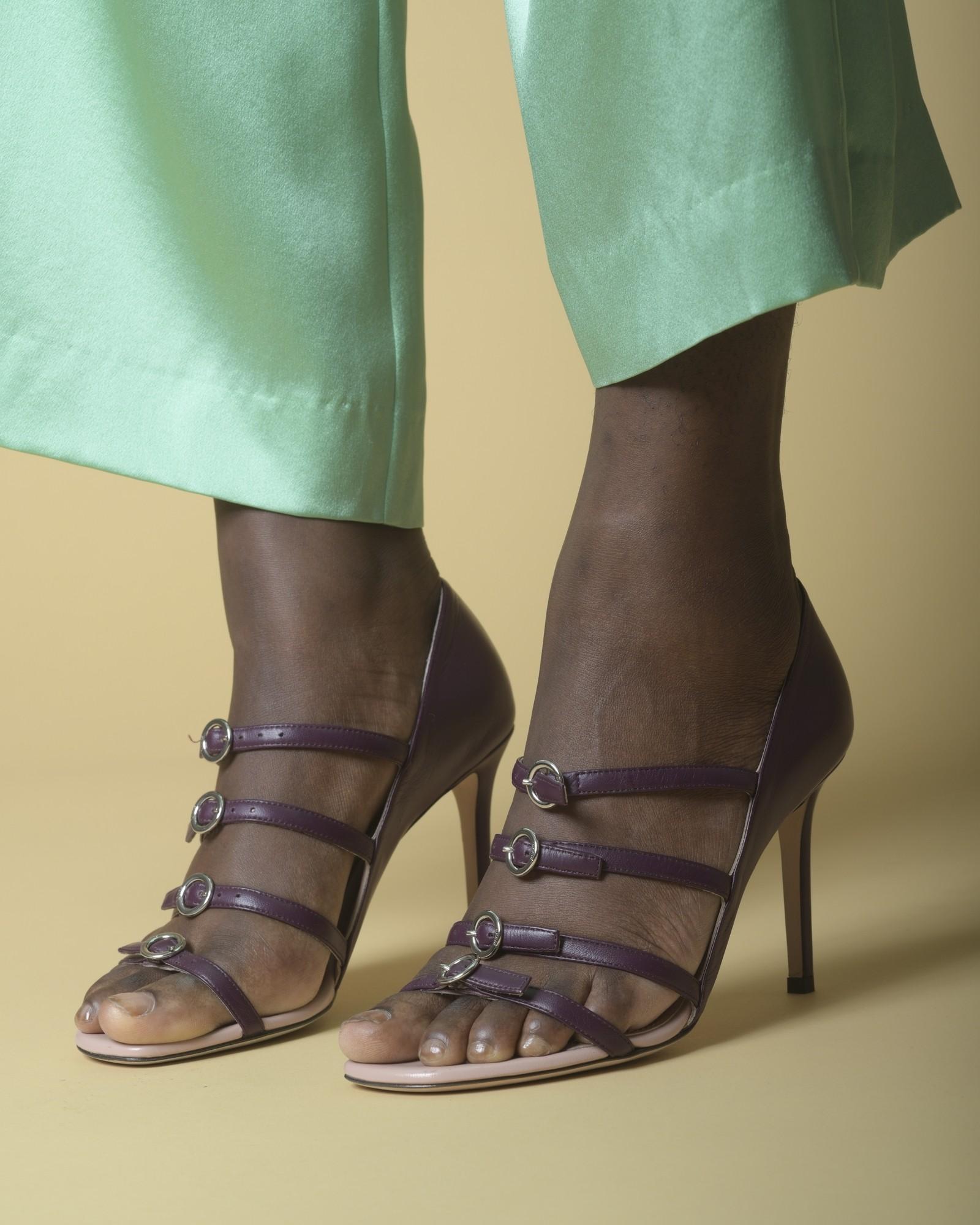 Sandales à talons en cuir à boucles Emilio Pucci
