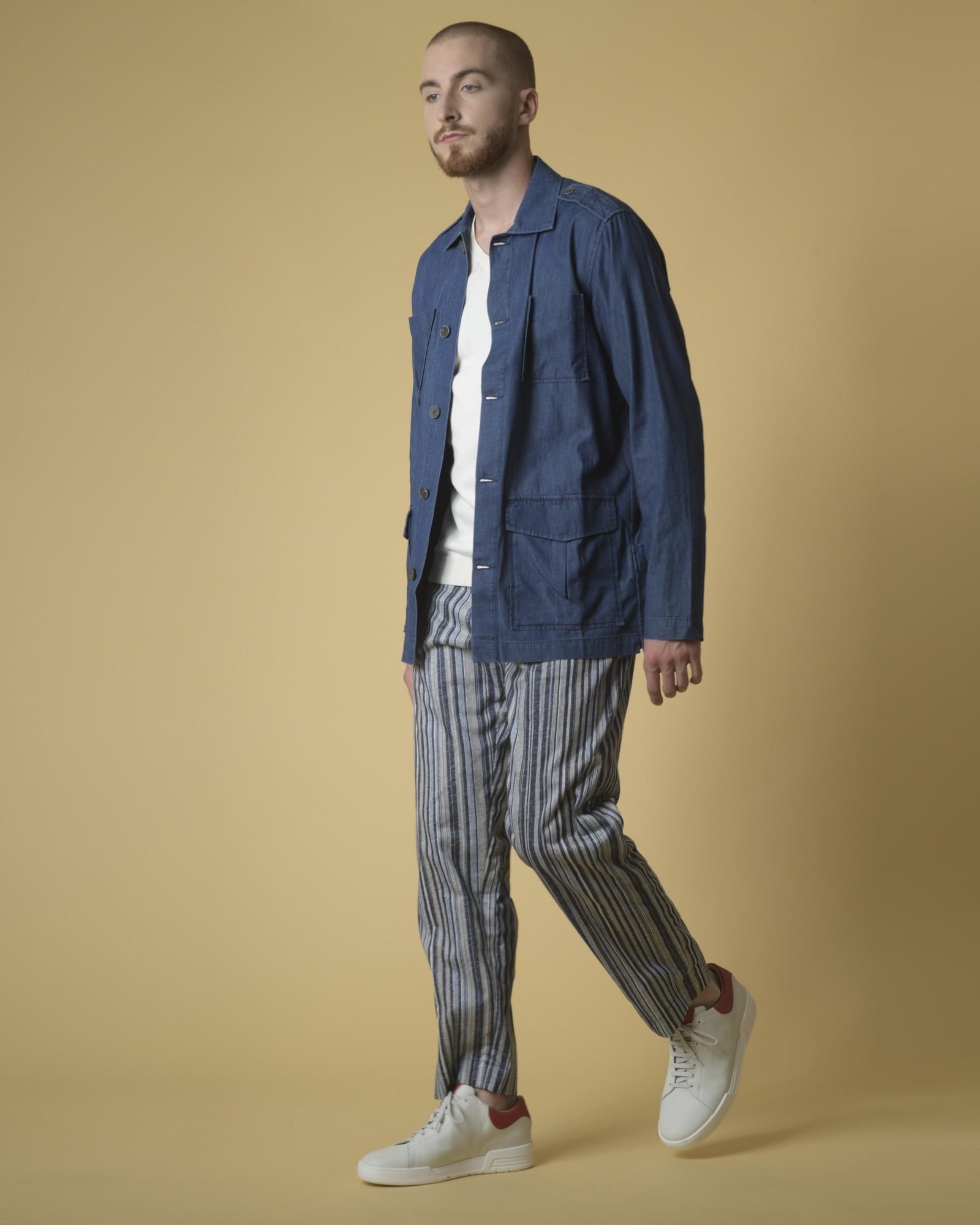 Pantalon en lin et coton mélangé à rayures Daniele Fiesoli