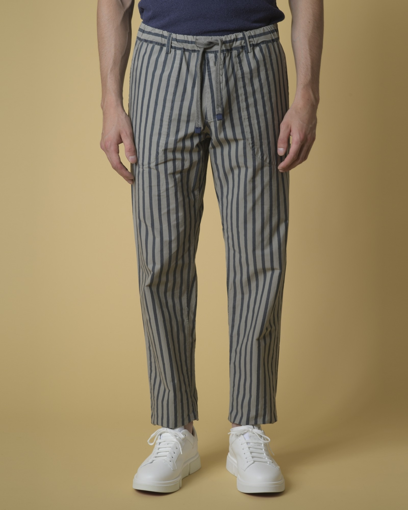 Pantalon en sergé réversible à rayures Myths
