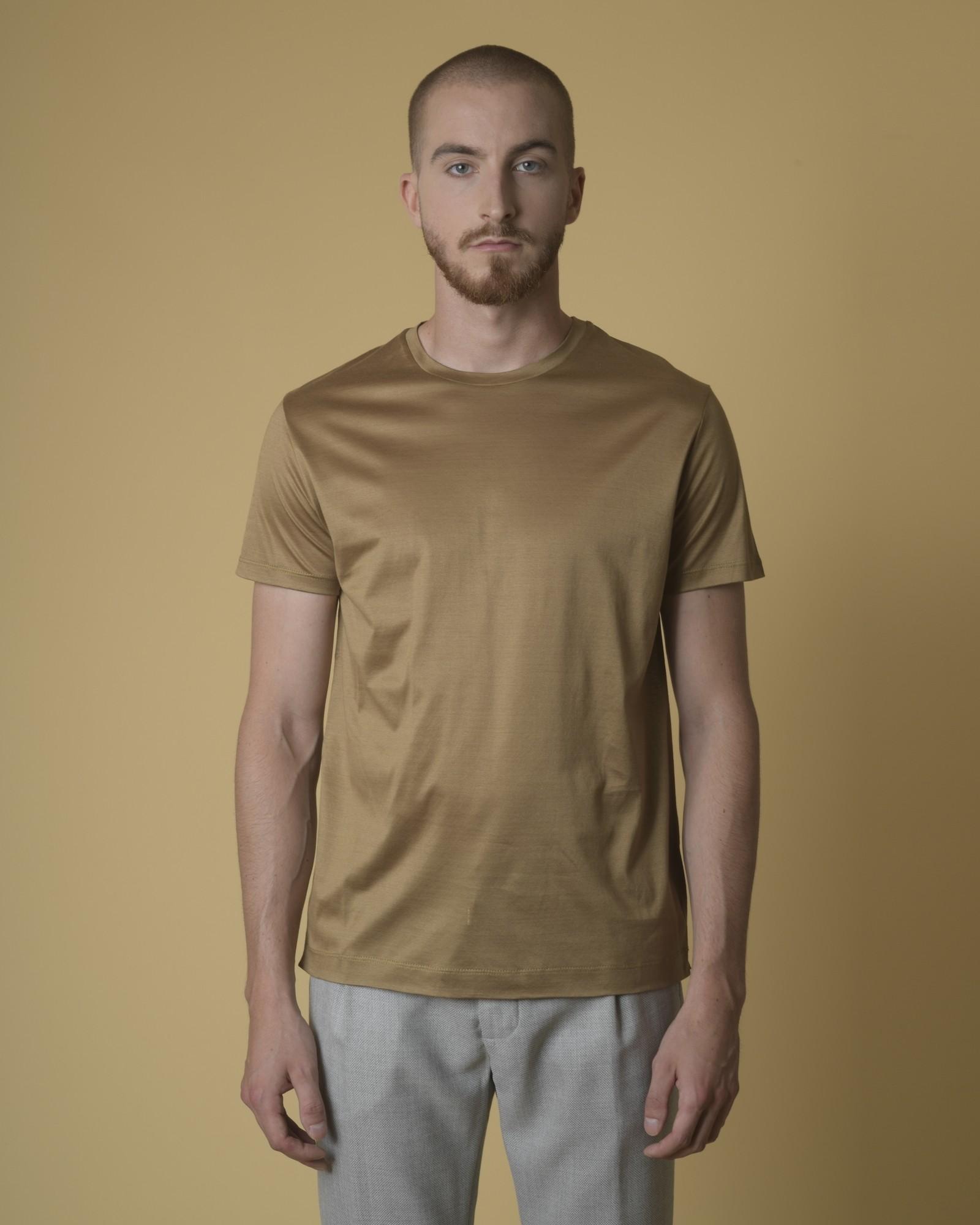 T-shirt coton doré col rond...