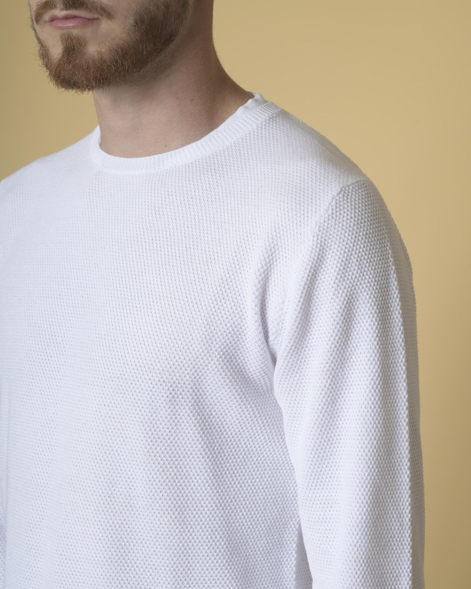 Pull en coton blanc texturé Daniele Fiesoli